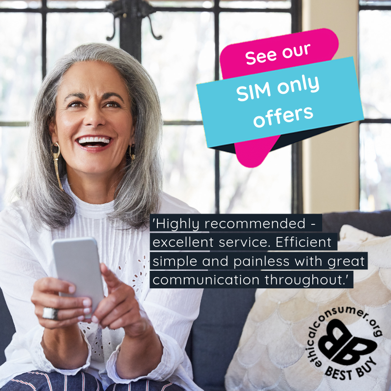 SIM Only Offer mobile woman happy smiling with mobile. smile!