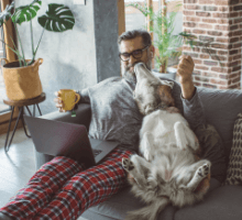 Man on laptop sat on sofa with dog