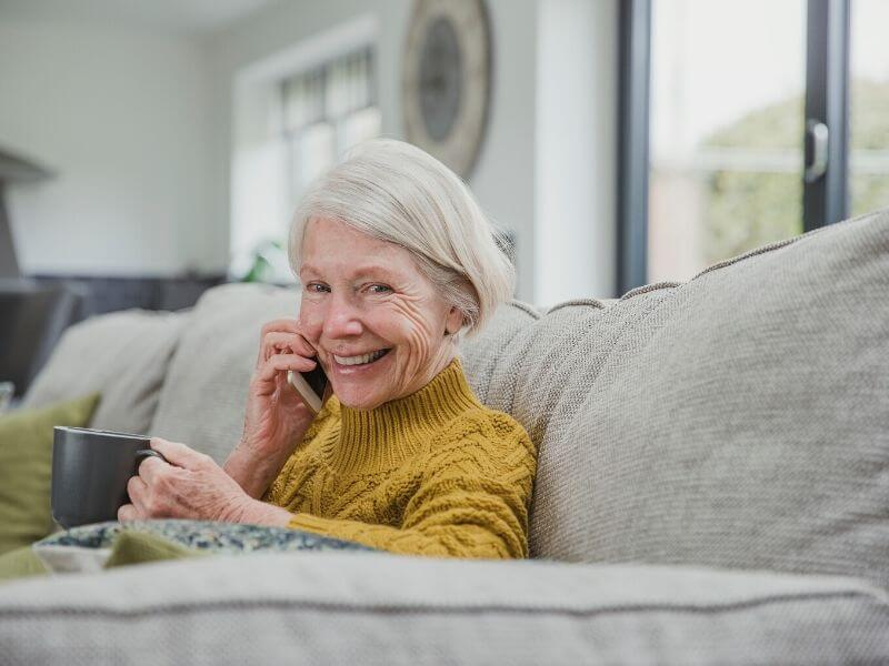 Older lady on phone call