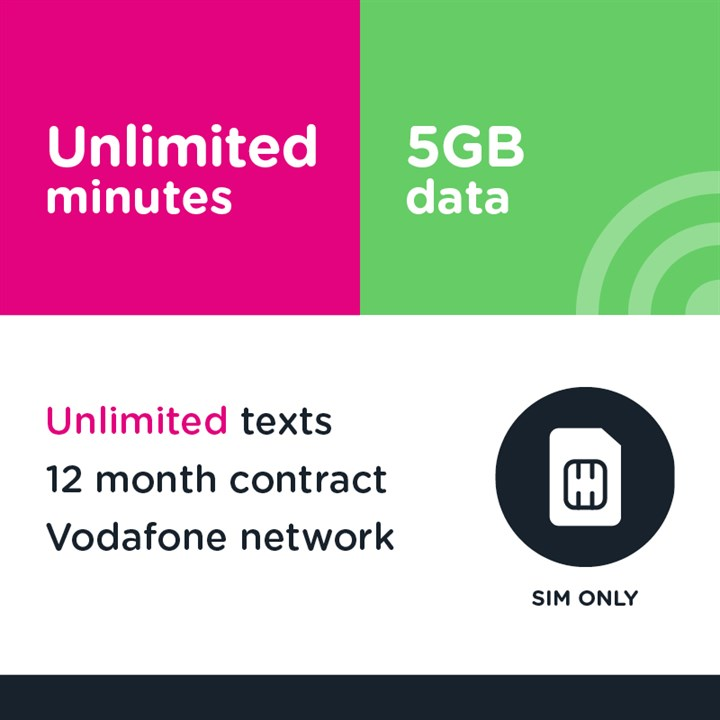 Business Unlimited mins and  text, 5GB -12 Months (Vodafone)