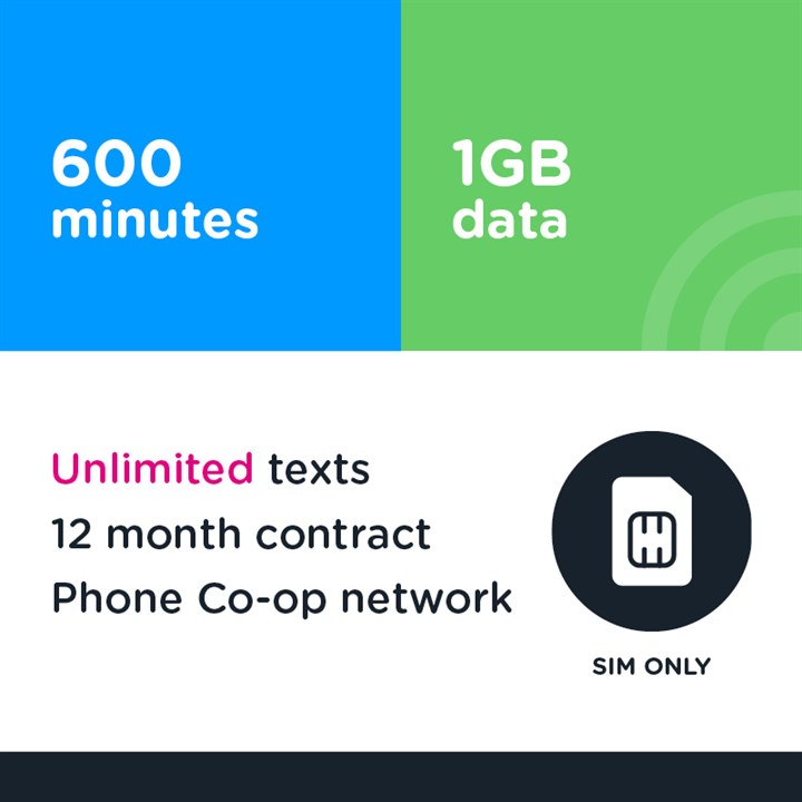 Business 600 mins, unltd text, 1GB - (Phone Co-op - EE)