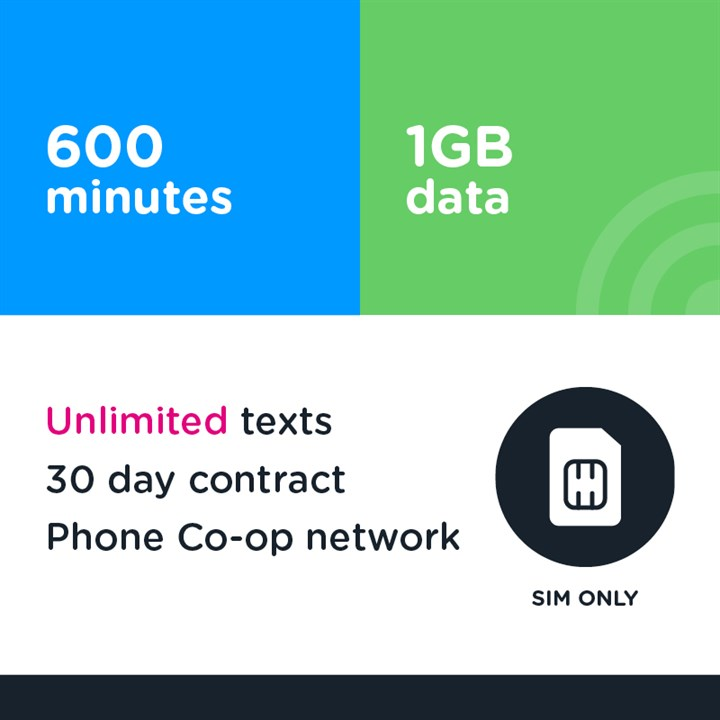 600 mins, unlimited text, 1GB - 30 day (Phone Co-op - EE)