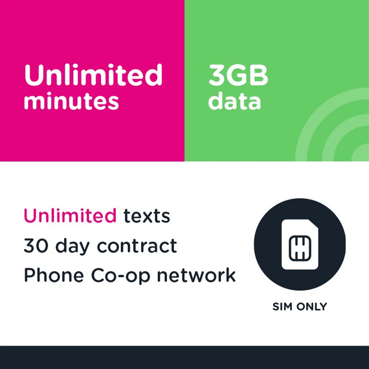SIM only - Unlimited mins and text, 3GB
