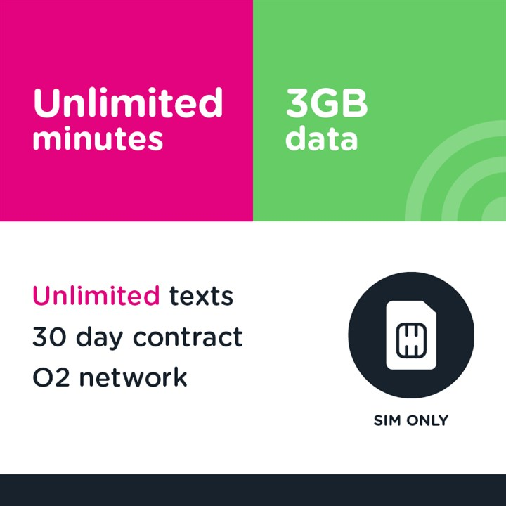 Unlimited mins and text, 3GB (O2) - 30 day
