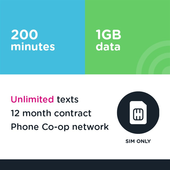 200 mins, unlimited text, 1GB - 12 month (Phone Co-op - EE)