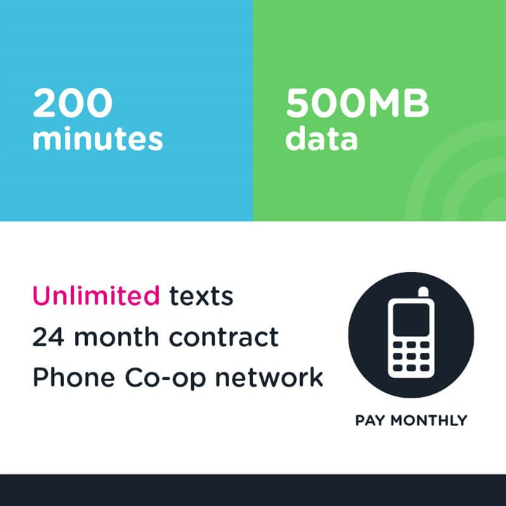 200 mins, unlimited text, 500MB (Phone Co-op - EE)