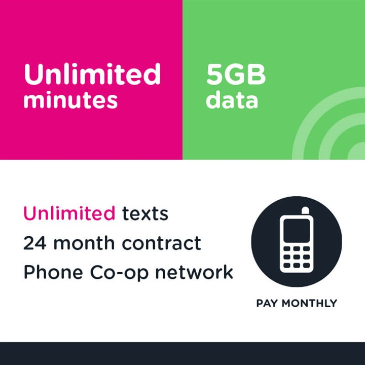 Unlimited mins and text, 5GB (Phone Co-op - EE)