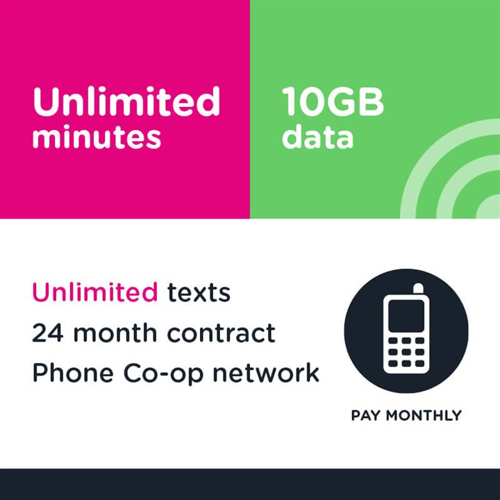 Unlimited mins and text, 10GB (Phone Co-op - EE)