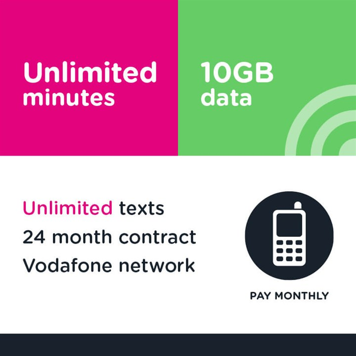Unlimited mins and text, 10GB (Vodafone)