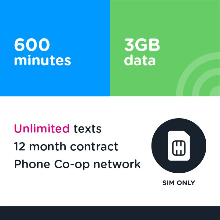 600 mins, unlimited text, 3GB - 12 month (Phone Co-op - EE)