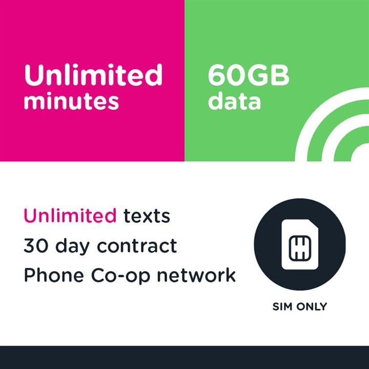 SIM only - Unlimited mins and text, 60GB