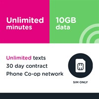 SIM only - Unlimited mins and text, 10GB