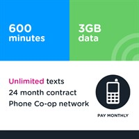600 mins, unlimited text, 3GB (Phone Co-op - EE)