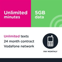 Unlimited mins and text, 5GB (Vodafone)